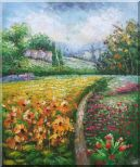 Flowering Meadow around Village Oil Painting  24 x 20 inches