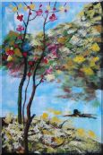 Spring Pink Flower Tree Oil Painting  36 x 24 inches