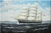 "Vintage Sailing Ship Oil Painting 24""x36"""