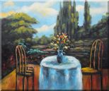 Flowers on Table with Chairs, Backyard Retreat in a beautiful day Oil Painting  20 x 24 inches