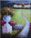 Flower Pot in Garden Of Mediterranean Coast Oil Painting  24 x 20 inches