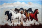 Eight Running Mustang Horses Oil Painting  24 x 36 inches