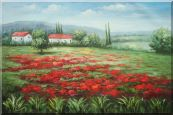 Small Hut Surrounded by Poppies Oil Painting  24 x 36 inches