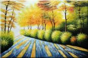 Road in Golden Sunshine Oil Painting  24 x 36 inches