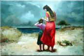 Mother and Daughter Walking on the Beach Oil Painting  24 x 36 inches