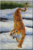 Siberian Tiger Walking in Snow Field Oil Painting  36 x 24 inches