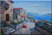Beautiful Coastal Village with Spectacular Coastline and Views Oil Painting  24 x 36 inches