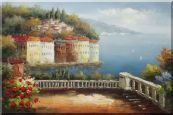 Mediterranean Pavilion with Flowers Oil Painting  24 x 36 inches