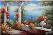 Italy Pavilion with Crawling Flowers Oil Painting  24 x 36 inches