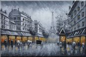 "Paris Street to Eiffel Tower Black and White Oil Painting Oil Painting 24""x36"""