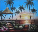 Hawaii Straw Hut with Palm Trees on Sunset Oil Painting  20 x 24 inches