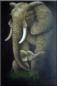 Elephant Mother Carrying Sleeping Cute Baby with Trunk  Oil Painting  36 x 24 inches