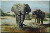 Two African Elephants Eating Grass Oil Painting  24 x 36 inches