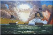 Pirate Ship Attack Merchant Ships in Sea  Oil Painting  24 x 36 inches