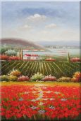 "Tuscany Country Landscape with  Vineyard Flower Field Oil Painting 36""x24"""