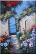Blooming Flower Garden to Mediterranean Sea Oil Painting  36 x 24 inches