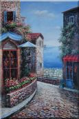 Greek Stone House with Flowers Overlooking  Mediterranean  Sea Oil Painting  36 x 24 inches