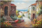 Mediterranean Coastal Town Oil Painting  24 x 36 inches