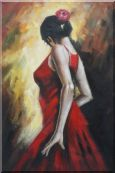 Elegant Spanish Flamenco Dancer with Long Red Skirt Oil Painting  36 x 24 inches