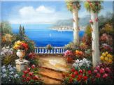 Beauty of Mediterranean Patio Oil Painting  36 x 48 inches