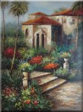Backyard Flower Garden Of Old Red-Roof Villa  Oil Painting  48 x 36 inches