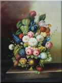 Colorful Flowers In Vase On Stone Sill Oil Painting  48 x 36 inches
