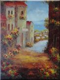 Mediterranean Flower Village Oil Painting  48 x 36 inches