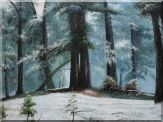 Old Pinaceae Trees in Snow Covered Forest Oil Painting  36 x 48 inches
