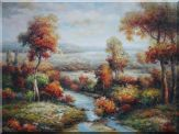Small Creek Passing through Autumn Wildness Oil Painting  36 x 48 inches