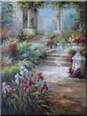 Flower, Patio, Steps at  Flower Garden Oil Painting  48 x 36 inches