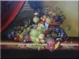 Still Life with Fruit of Grapes, Peaches and  Red Curtain Oil Painting  36 x 48 inches