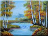 Golden Aspen Trees and Small Waterfall Oil Painting  36 x 48 inches
