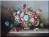 Still Life of Flowers in a Earthware Vase Oil Painting  36 x 48 inches