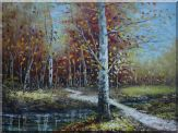Golden Birch Trees and Water Stream Oil Painting  36 x 48 inches