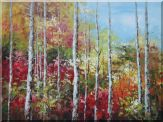 Large Water Stream in Autumn Yellow Birch Forest  Oil Painting  36 x 48 inches