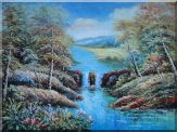 Small Waterfall in Blue Water Stream,  Flowers, Trees Oil Painting  36 x 48 inches