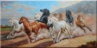 Eight Horses Galloping Under Cloudy Sky Oil Painting  24 x 48 inches