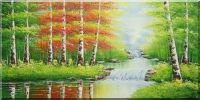 A Country Home Under Waterfall  Oil Painting  24 x 48 inches