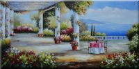 French Mediterranean Terrace Oil Painting  24 x 48 inches