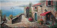 Mediterranean Red Roof Stone Bar Scenery Oil Painting  24 x 48 inches