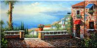 Coast Line on Adriatic Sea Oil Painting  24 x 48 inches