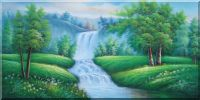 Giant Waterfall Down from Green Field in Spring Oil Painting  24 x 48 inches