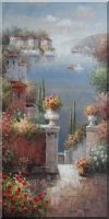 Flower Beach Terrace in Mediterranean Large Oil Painting Oil Painting  48 x 24 inches