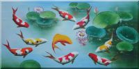 Nine Colorful Fishes Play around Pink Waterlilies Oil Painting  24 x 48 inches