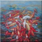 Group of Colorful Koi Fishes in Lotus Pond Oil Painting  36 x 36 inches