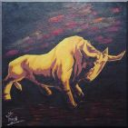 Bull Oil Painting  30 x 30 inches