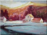 Village on the Bank of River in Winter Oil Painting  30 x 40 inches