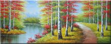 River, Trail, Beautiful Autumn Fall Forest Scene Oil Painting  28 x 70 inches
