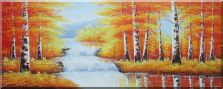 Waterfall in Golden Birch Forest Oil Painting  28 x 70 inches