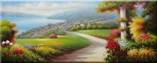 Red Flowers in Green Prairie Near Lake Oil Painting  28 x 70 inches